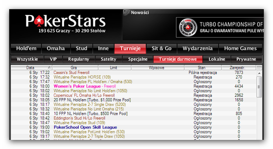 Freerolle w Poker Stars